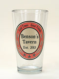 Personalized Pint Glass with Tavern look