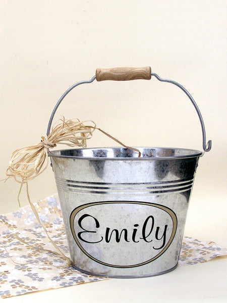 personalized metal pail, medium 3 quart size