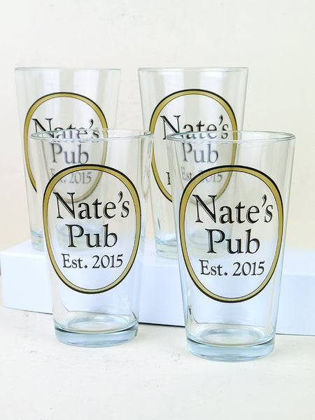 Set of four personalized pint glasses