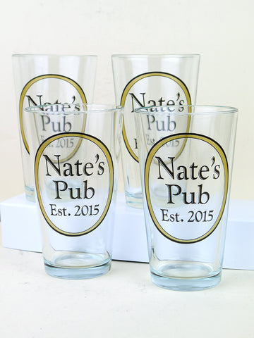Set of 4 personalized beer glasses