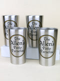 Set of four personalized steel pint cups