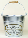 custom metal bucket with beer quote