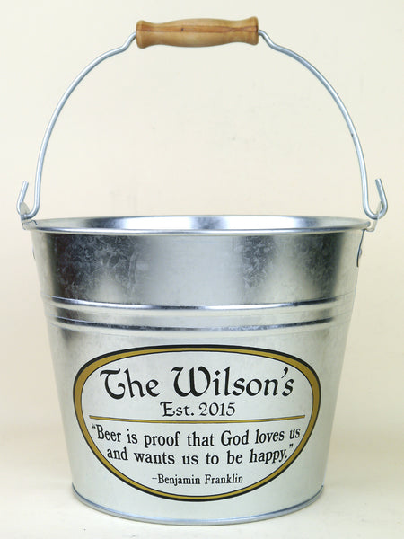 Personalized Beer Bucket with Beer Quote