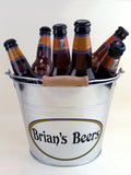 personalized ice bucket holds 6 bottles