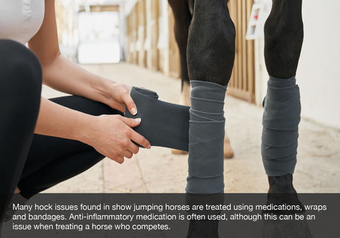 Many hock issues found in show jumping horses are treated using medications, wraps and bandages. Anti-inflammatory medication is often used, although this can be an issue when treating a horse who competes.