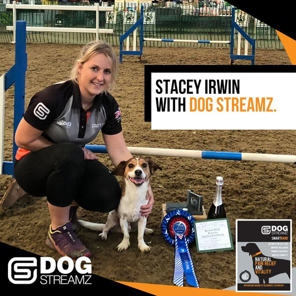 Stacey Irwin with dog streamz winners of world agility championships
