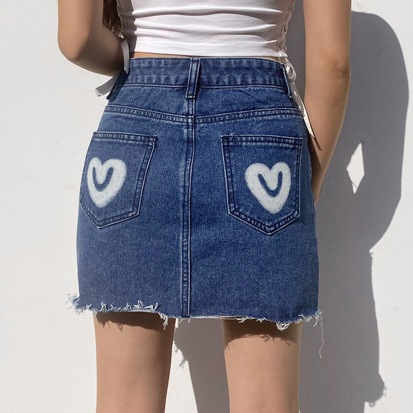 Blue Demin Love Heart Skirt - EuphoriaStar