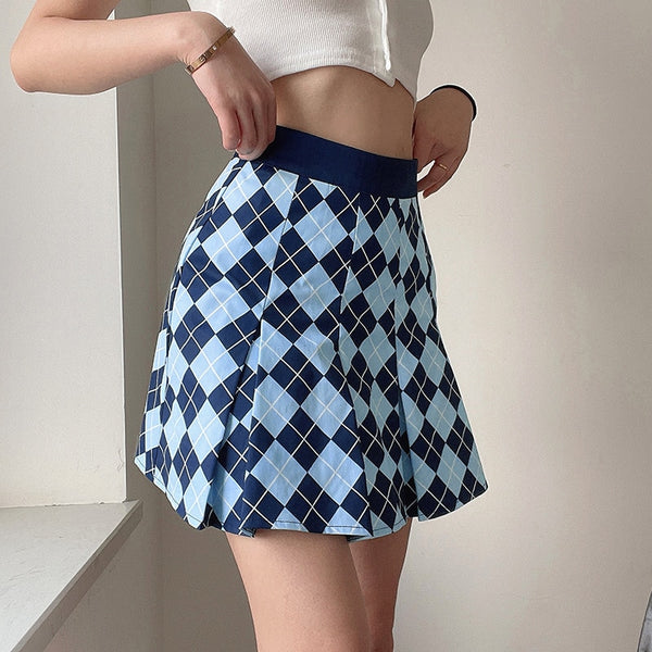 Argyle Plaid Pleated Skirt