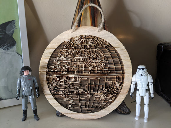 That's no moon! Death Star Wooden Sign