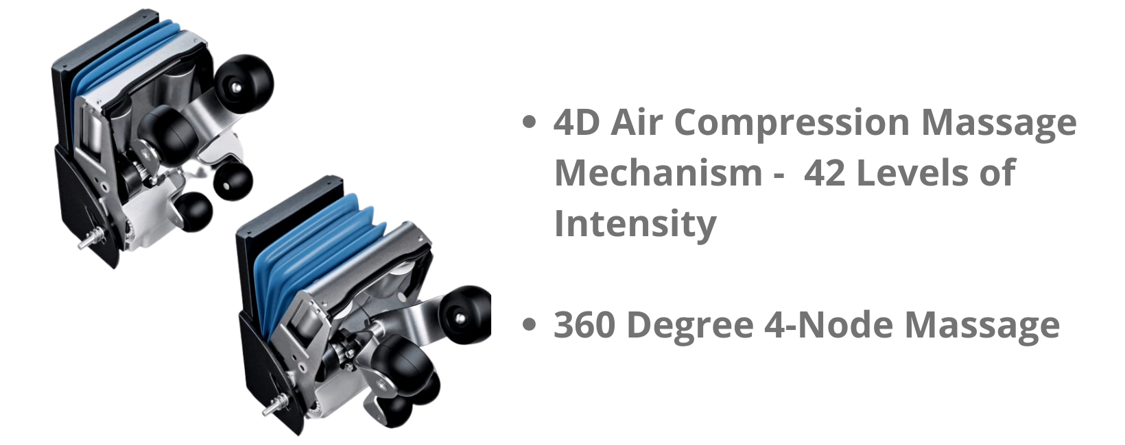 """360 Degree 4-Node Massage & 4D Air Compression Massage Mechanism: Even beyond traditional 3D mechanical massage movement, the Floridian 4D Massage Expert uses """"Air Compression Massage Mechanism"""", truly offer 4D programs to include the dimension of variable speed. Massage strokes speed up and slow down mid-stroke, just like the hands of a professional massage therapist."""