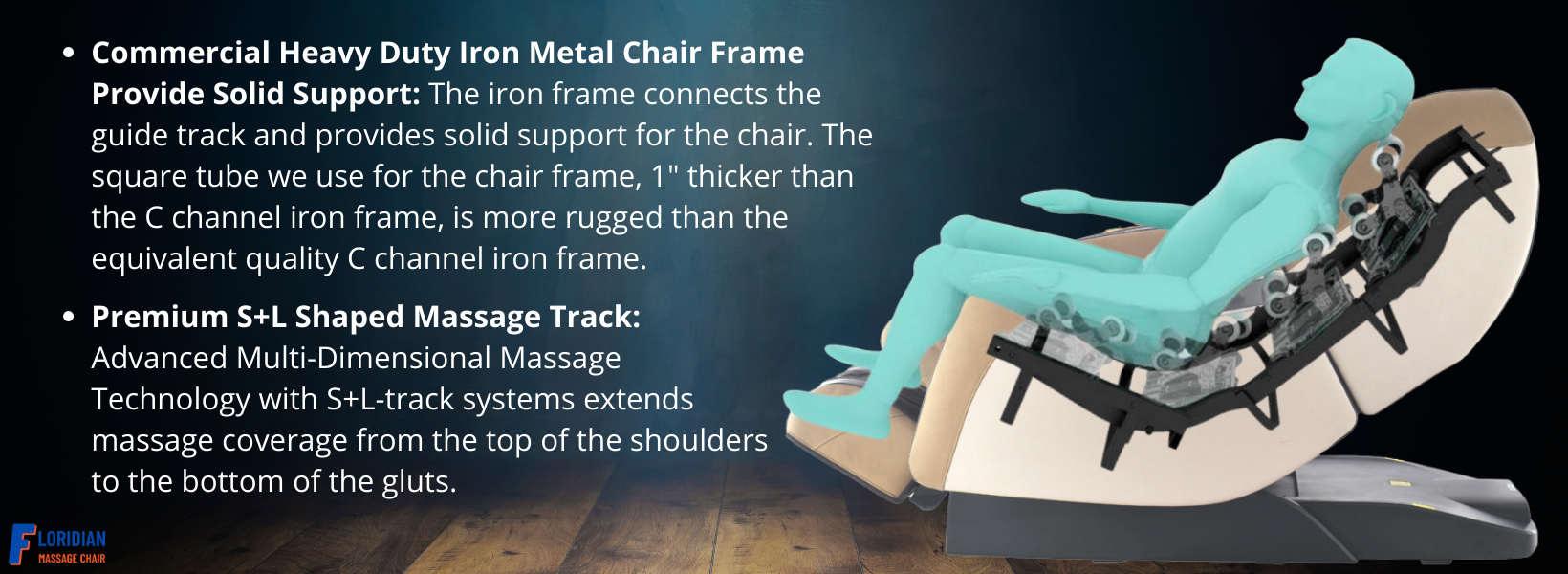 """Commercial Heavy Duty Iron Metal Chair Frame Provide Solid Support: The iron frame connects the guide track and provides solid support for the chair. The square tube we use for the chair frame, 1"""" thicker than the C channel iron frame, is more rugged than the equivalent quality C channel iron frame. Premium S+L Shaped Massage Track: Advanced Multi-Dimensional Massage Technology with S+L-track systems extends massage coverage from the top of the shoulders to the bottom of the gluts."""