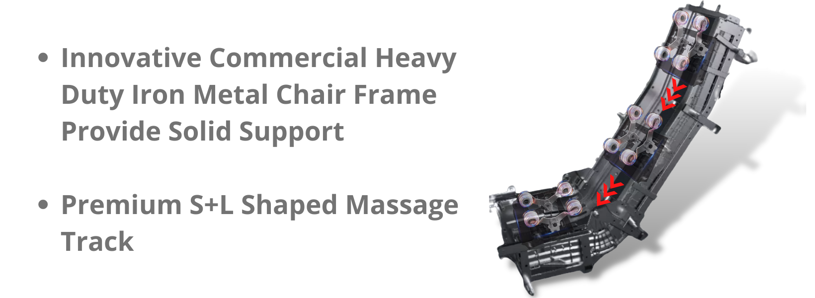 """Innovative Commercial Heavy Duty Iron Metal Chair Frame Provide Solid Support: The iron frame connects the guide track and provides solid support for the chair. The square tube we use for the chair frame, 1"""" thicker than the C channel iron frame, is more rugged than the equivalent quality C channel iron frame.  Premium S+L Shaped Massage Track: Advanced Multi-Dimensional Massage Technology with S+L-track systems extends massage coverage from the top of the shoulders to the bottom of the gluts."""