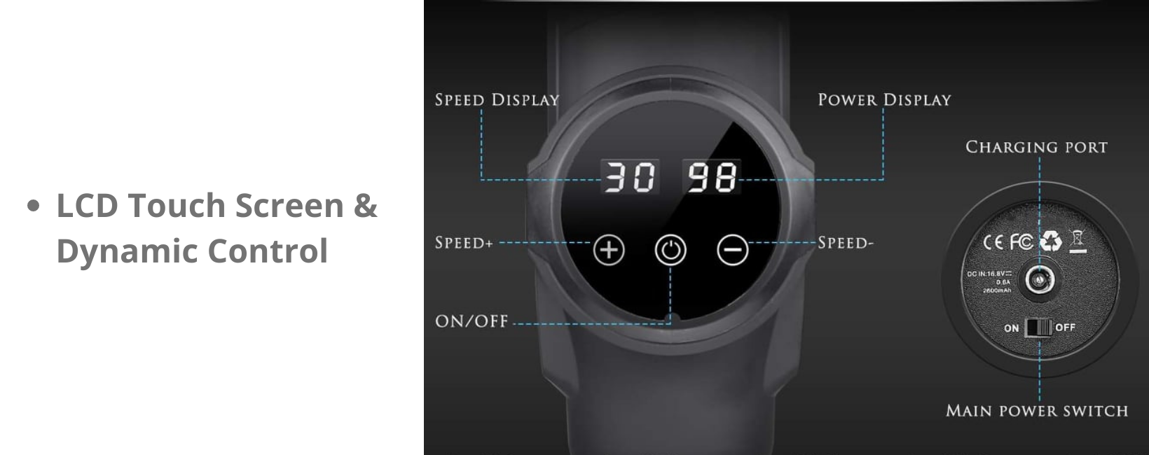 LCD Touch Screen & Dynamic Control: Know your current speed and monitor applied pressure at a glance, our bright and responsive touch screen display is easy to clean and more durable than physical gear displays.