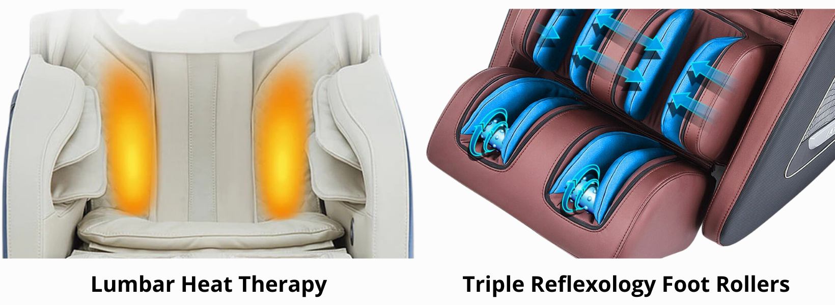 Triple Reflexology Foot Rollers: Drawing on the principles of reflexology, our foot rollers stimulate nerve endings on the feet to relieve tension, improve circulation, and renew vitality throughout the body. 3 distinct foot rollers target specific areas on the pads of the feet. Soft footpads are included to adjust the pressure of the foot rollers to your personal preference. Heat Therapy: The therapeutic heat function targets the lumbar region, helping to ease tension, reduce stress, and alleviate sore muscles. Warm muscles are more pliable, so the massage actions are more effective.