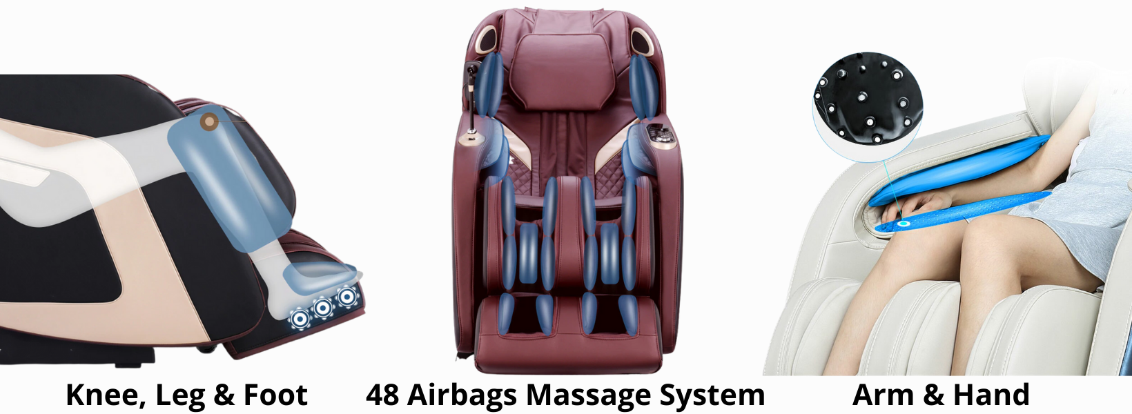 48 Airbag Massage System: Built into the chair are 48 airbags that rhythmically inflate and deflate during your massage session. These airbags gently stretch muscles to ease tension and fatigue and to improve circulation. Airbags are located on the shoulders, around the arms, and even under the thighs and calves to allow a full-body stretch.