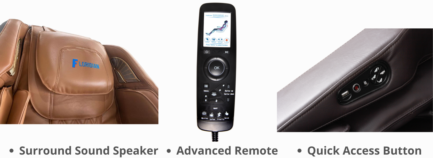Surround Sound Speaker: Add the benefit of music therapy to your massage. Connect wirelessly to compatible devices and play your favorite music. High-quality compact speakers are mounted above the shoulder massagers and aimed at your ears for a surround sound experience. Quick Access Arm Console. Advanced remote