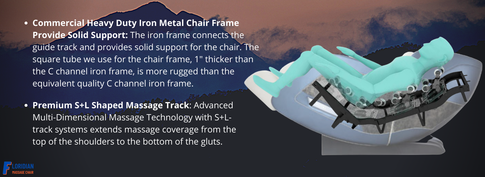 """The iron frame connects the guide track and provides solid support for the chair. The square tube we use for the chair frame, 1"""" thicker than the C channel iron frame, is more rugged than the equivalent quality C channel iron frame. Premium S+L Shaped Massage Track: Advanced Multi-Dimensional Massage Technology with S+L-track systems extends massage coverage from the top of the shoulders to the bottom of the gluts."""