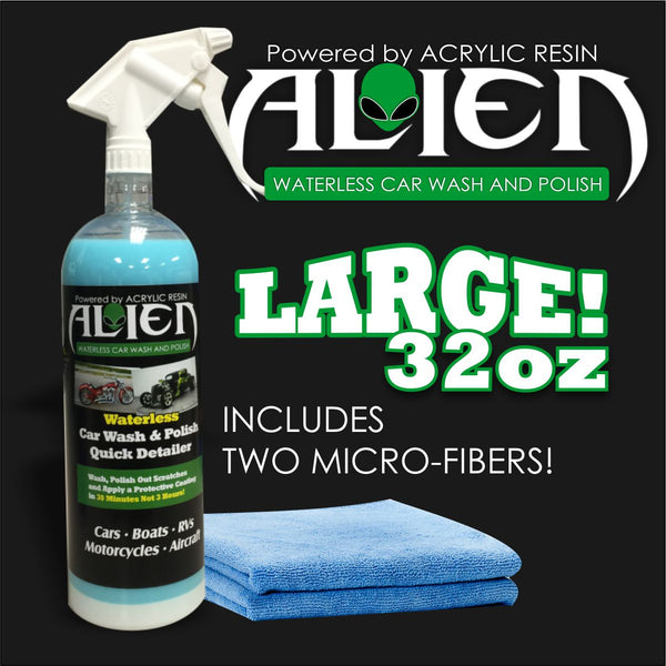 ALIEN 32OZ WATERLESS ACRYLIC WASH, POLISH AND PROTECTIVE COATING WITH 2 MICROFIBER TOWELS
