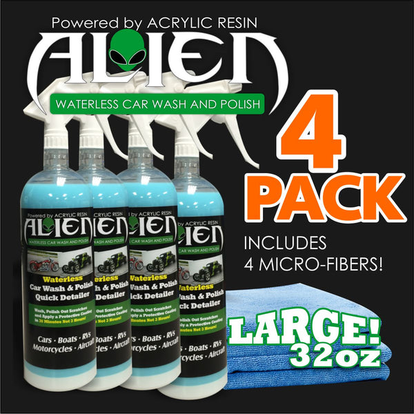 FOUR PACK - ALIEN 32OZ WATERLESS ACRYLIC WASH, POLISH AND PROTECTIVE COATING WITH 4 MICROFIBER TOWELS ($34.98EA)