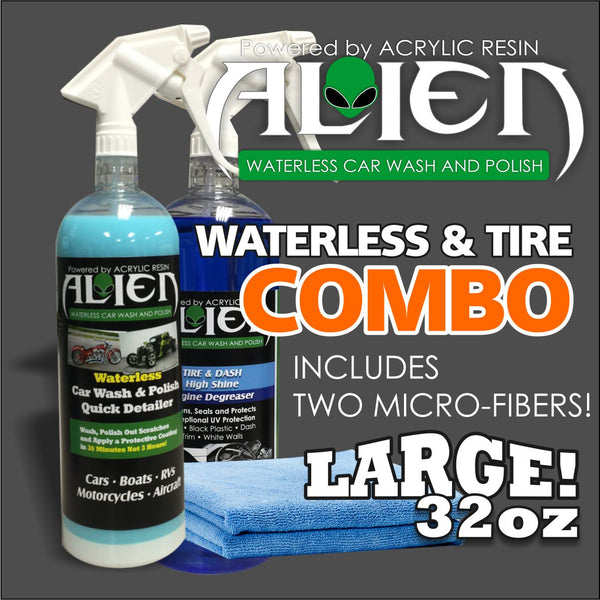 COMBO KIT ALIEN 32OZ WATERLESS  AND TIRE AND TRIM WITH 2 MICROFIBER TOWELS