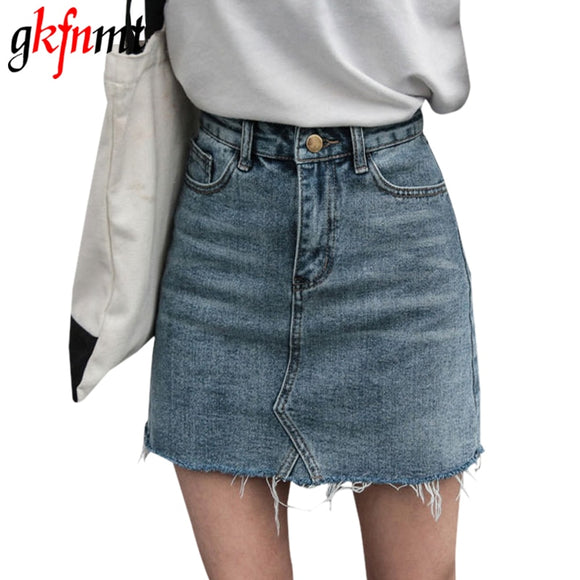 2019 New Women's Denim Skirt Casual Style Summer Women Mini Skirts High Waist Sexy Denim A-Line Skirt Pockets Button Jeans Skirt