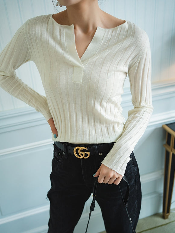 New Wool Cut Deep V Women's Sweater Slim knitwear Threaded top ladies office Bottoming pullover