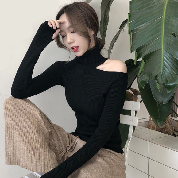 2020 women sweater autumn winter new Sexy shirt Korean version Slim fit pullover sweater hollow open neck turtleneck sweater