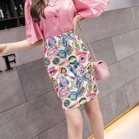 Women's Pencil Skirt Cartoon Letters Print High Waist Bodycon Skirts Lady Summer Sexy Slim Female Mini Spodnica Falda SP615