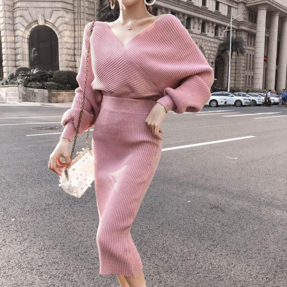 Women's 2020 new autumn and winter mid-length bag hip knitted skirt two-piece suit