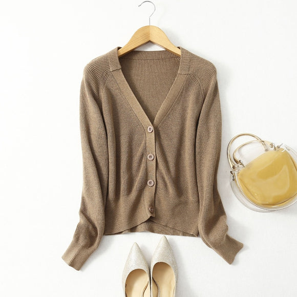 Women's Real Silk Blend V Neck Buttons down Long Sleeve Cardigan Sweater Top Shirt JN543