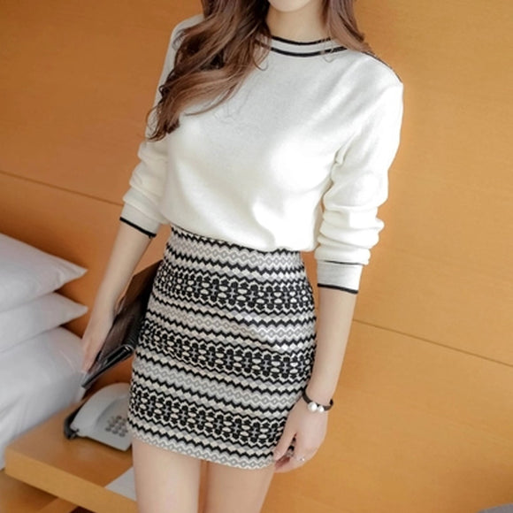 New Spring knitted Dress Long Sleeve Fashion Korean Sweater Women's middle long Hip skirt white Two-piece Winter sweater 11i5