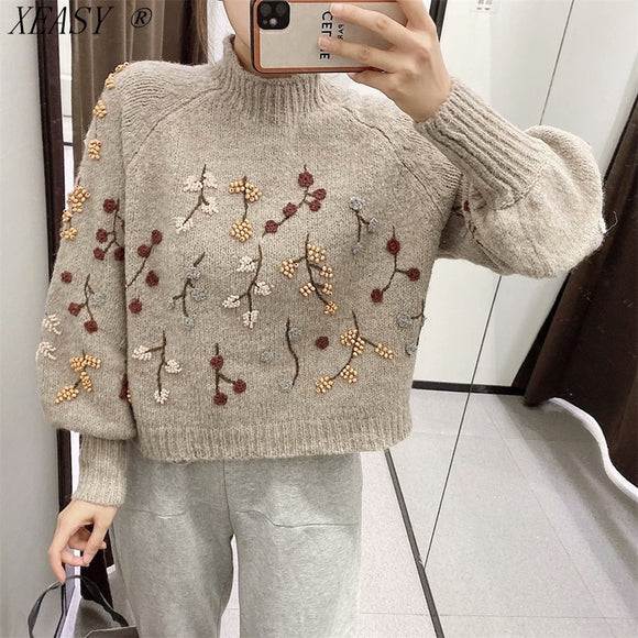 Women's Vintage Korean Long Sleeve Pullover Chic Flowers Beaded Fashion Harajuku Knitted  Sweater Keeps Warm  Autumn and Winter