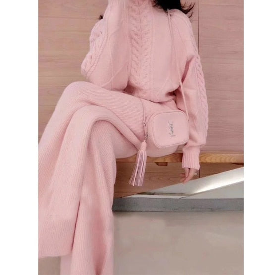 high-collar twist pink sweater two-piece women's knitted suit wide-leg pants western style suit tide Women's office suit