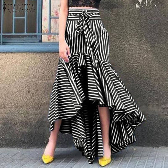 Fashion Striped Skirts Women's Printed Ruffle Vestidos ZANZEA 2021 Casual Asymmetrical Maxi Skirts Female Summer Faldas Saia