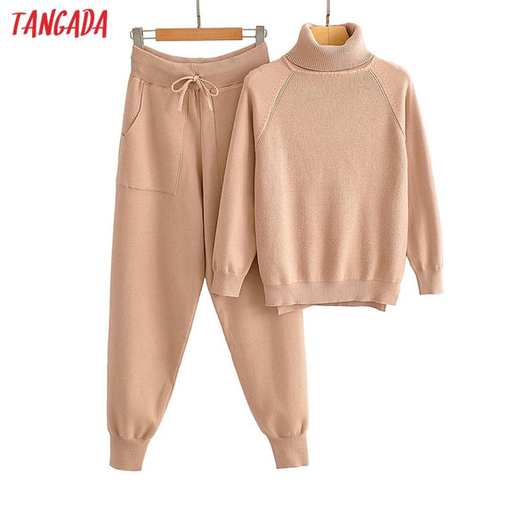 Tangada women's set solid turtleneck sweater jumper pants set 2020 autumn winter suit 2 piece set sweater and pants  AI50