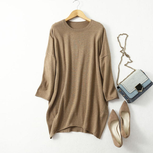 Women's 85% Silk 15% Cashmere Crew Neck Long Loose Type Pullover Sweater Top  LY001