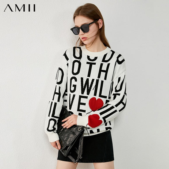 Amii Minimalism Autumn Winter Sweaters For Women Fashion Oneck Letter Print Loose Women's Sweater Female Pullover Tops 12070525