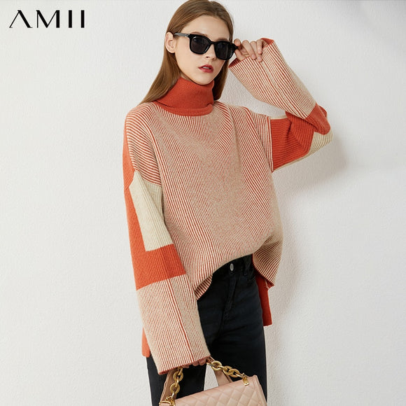 Amii Minimalism Autumn Winter Women's Turtleneck Sweater Fashion Spliced Thick Women's Sweater Female Pullover Tops  12080063