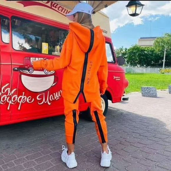 2020 Autumn New Women'S Loose Letter Sports Set Casual Zipper Long Sleeve Hooded Collar Sweater And Pants 2 Two-Piece Suit