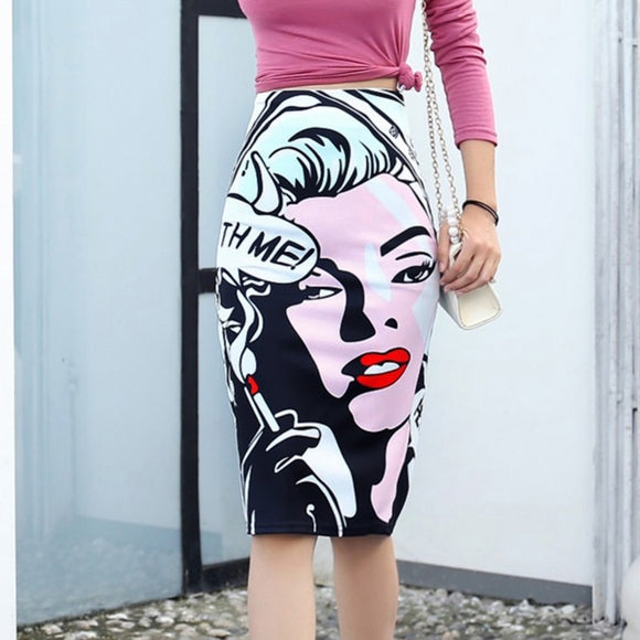 Women's Pencil skirt New Mickey Cartoon Mouse Print High Waist Slim Skirts Young Girl Summer Large Size Japan Female Falda