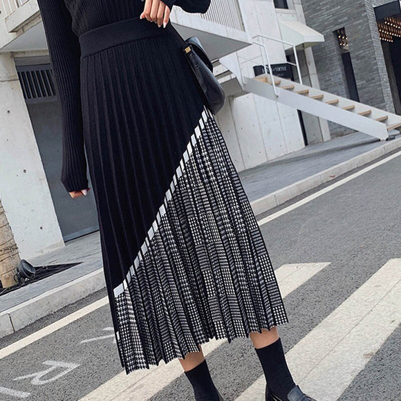 High Quality Women's Knitted Skirt 2020Fall Winter Fashion Houndstooth Hit Color Patchwork Skirt Pleated Thick Black Warm Skirts