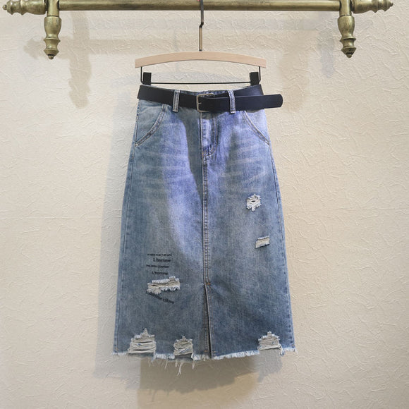 Denim Skirt Women's Summer 2020 Loose Long Ripped Skirt Woman Skirts Mujer Faldas Saias Mulher