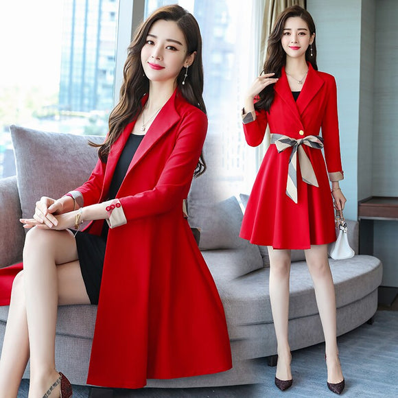 Long sleeve dress women's autumn 2018 new medium and long slim temperament small wind skirt Hong Kong flavor skirt tide