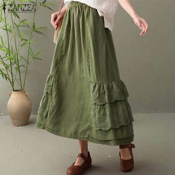 ZANZEA Casual Loose Solid Sundress Lace Long Maxi Robe Women Summer Elastic Waist Skirts Holiday Pockets Faldas Saia Plus Size