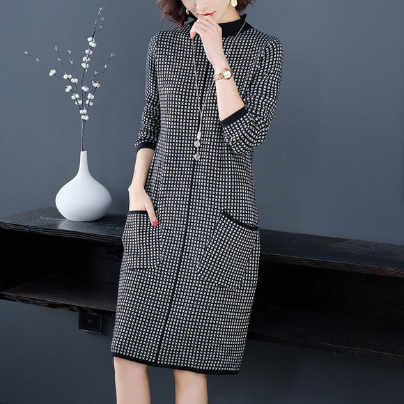 Winter Vintage Casual Plaid Midi Cashmere Sweater Dress 2021 Autumn 3XL Plus Size Long Sleeve Elegant Bodycon Women's Turtleneck