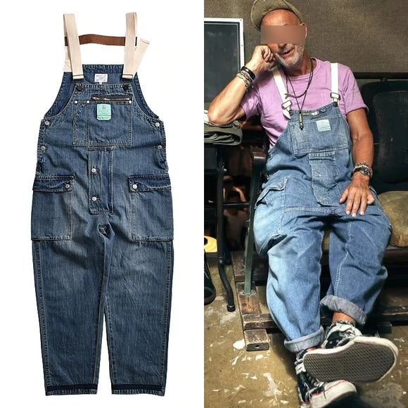 Distressed Blue Denim Overalls Men's Work Cargo Pants Old School Easy Chic Worker Multi-Pocket Bib Trousers Men Casual Dad Jeans