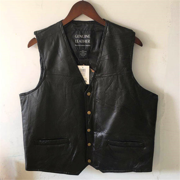 motorcycle leather vest men's riding vest middle-aged and elderly windproof sheepskin sleeveless  jacket male waistcoat