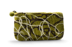 Felt Wallet- Green Squiggly