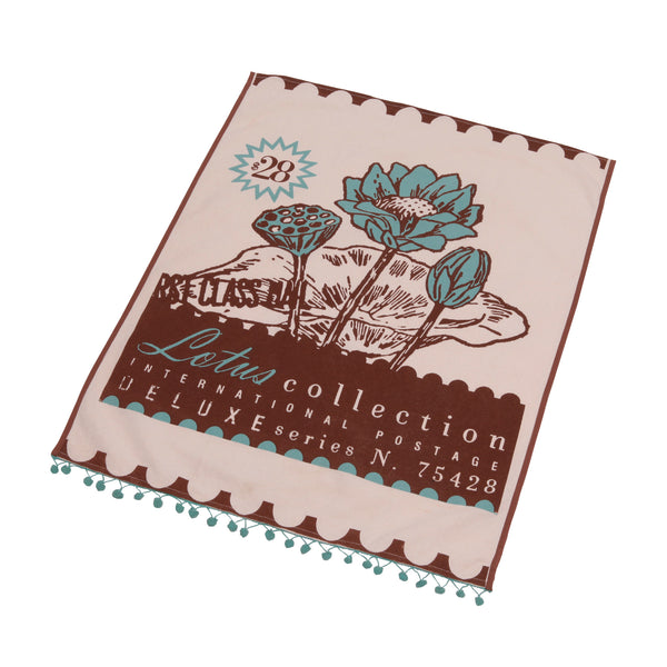 Postage tea towel- Lotus