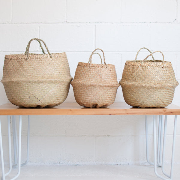Seagrass Basket - Natural with Black